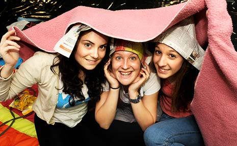 Well prepared for The Northern Star's Giant Sleepout at Lismore Square on Saturday night were, Anna O'Reilly (left), Scout Symons and Laura Bratti, all of Casino.