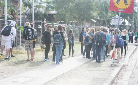 Students gather outside Mullumbimby High School on Monday morning.
