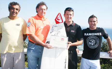 PICTURED at the presentation  last week are (from left) Ted Kabbout from the Disabled Surfers Association; Peter Stynes from the Cape Byron Coastal Patrol; Bryce Cameron and Danny Wills.