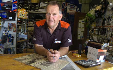 'BRING IT ON': Bob Cowley, mentor to motorcycle legend Mick Doohan and the owner of Kyogle Motorcycles.