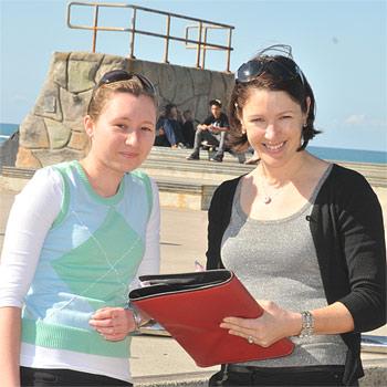 Sunshine Coast Youth Partnership officer Jody Tunnicliffe with student Elle Bennett. Photo: John McCutcheon/184743
