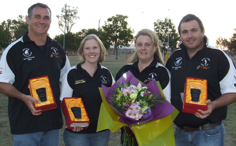 FOR LIFE: Biloela rugby union life members Dean and Ellen Brewer and Sue Appel with her husband Matt who was also given the same honour at the club's recent 30th anniversary celebration.