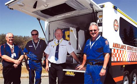 JOHN Flynn, Stephen Flanagan, Peter Pilon Grant Prendergast with the new ambulance.