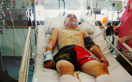 Yeppoon teenager Bradley Carter fights for his life in the intensive care unit at Rockhampton Hospital.