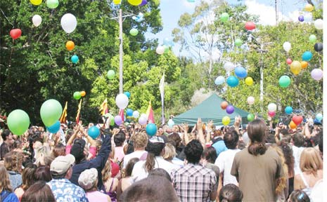 Dozens of balloons are released at the close of the celebration for the life of Jai Morcom in Mullumbimby last Saturday.