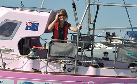 Jessica Watson on board Ella's Pink Lady.