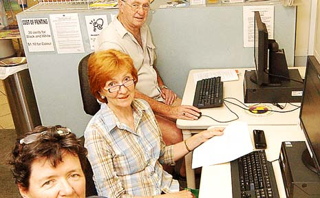 HONING IN: Delving onto the internet for the first time are (from left) Lisa Stanistreet, of Ballina, Andrea Forrest-Brown, of Teven and Don Anderton, of Lennox Head.