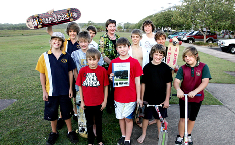 Young Town of Seaside skateboarders present councillor Debbie Blumel with a petition for a half-pipe this week. Photo: Mike Garry/scw1753