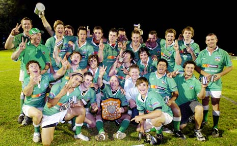 Lennox Head celebrate winning the Far North Coast rugby union grand final at Crozier Field in Lismore on Saturday.