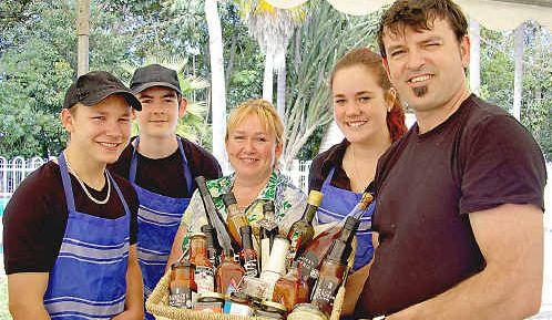 Paul Mullenburg, Allen Howard, Sue Howard, Paige McKay and David Howard at last year's Lismore Wine & Food Fair.