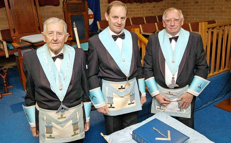 OPEN DOOR: Ballina Freemasons Lodge chaplain Maurie Thomas (left), Worshipful Master Garry Eslick, and Senior Warden John Stoker.