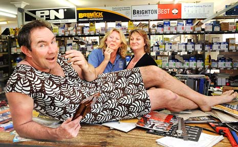FASHIONABLE: David Krause, Lismore Marist Brothers rugby league coach wearing a dress after losing a bet at The Bolt Barn with business owner Linda Waring (back left) and accounts clerk Sharon Cooper.