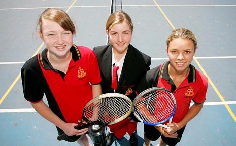GRAMMAR GIRLS: Three of the four players who will represent the Rockhampton Grammar School at a regional tennis tournament, (from left) Molly Scott, Eleanor Haks and Hannah Flenady (Eden Beak was absent).
