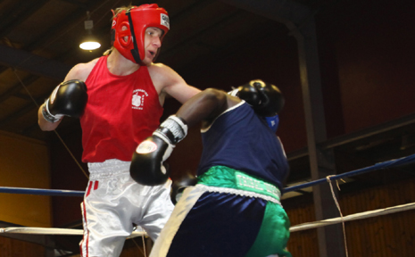 ON THE ATTACK:Former Wowan boxer Lachlan Hinchliffe in his last fight at Rockhampton that was part of his preparation for the state titles in Cairns this weekend.