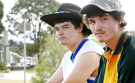 SCHOOLYARD ATTACK: Robbie Mills (right), 17, a student at Woodenbong Central School who was set upon in the playground pictured here with friend Mitchell Worth, 17.