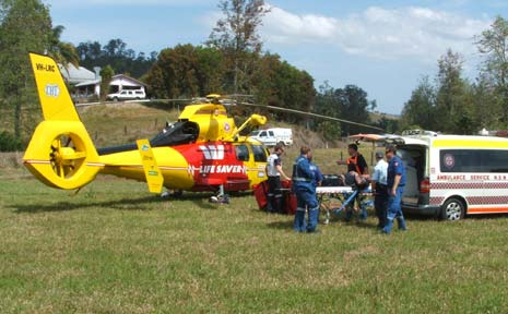 The helicopter attending to the accident at Gradys Creek, north of Kyogle.