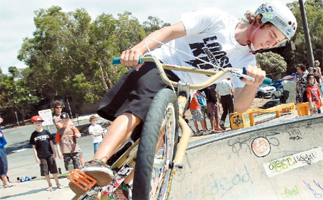 BMX bandit Jay Wilson of Banora Point hits the South Tweed Sk8 Park at it's official opening.