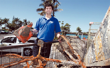 SIMON Hartley with just some of the rubbish collected from Tweed River over the past two weekends by the Byron Underwater Research Group.