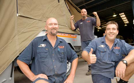 IT'S A FIRST: Kimberley Kampers staff Kevin Clarke (rear), Jamie Butts (left) and Mathew Broad will export their first campervan to Riyadh in Saudi Arabia.
