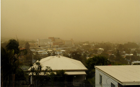 The dust storm creates an eery sight over Lismore.