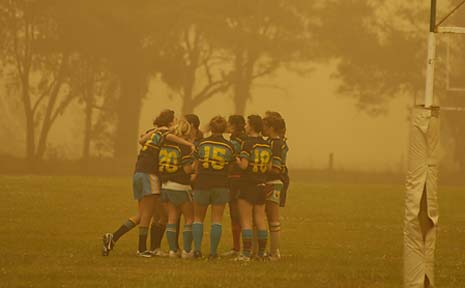 CALLED TO A HALT: One of the girls' games at the rugby union carnival at Woodlawn yesterday was called off half-way through.