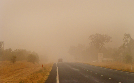 Dust blows over the township of Capella, 320km west of Rockhampton.