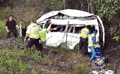 The accident scene near Cunningham's Bridge, on December 19, 2007.