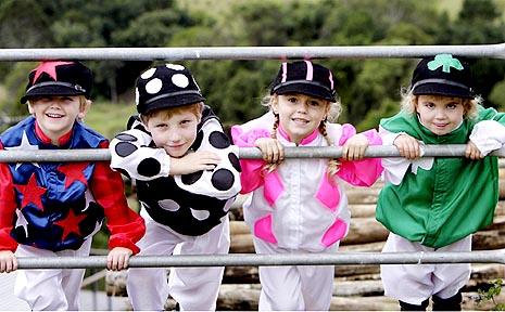 Junior jockeys Flynn Hubbard, Dylan Brown, Zaelia Dunsdon and Aimee Morris join the fun of the Sunshine Coast Health Foundation Gala event.