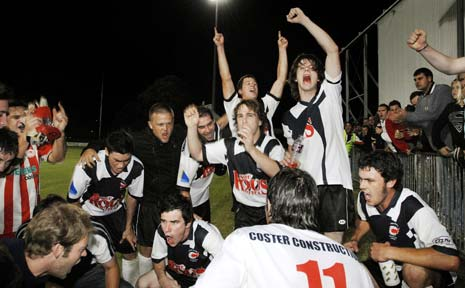 SWEET VICTORY: Richmond Rovers players celebrate their premier league soccer grand final win last year. Will they be doing the same thing tonight?