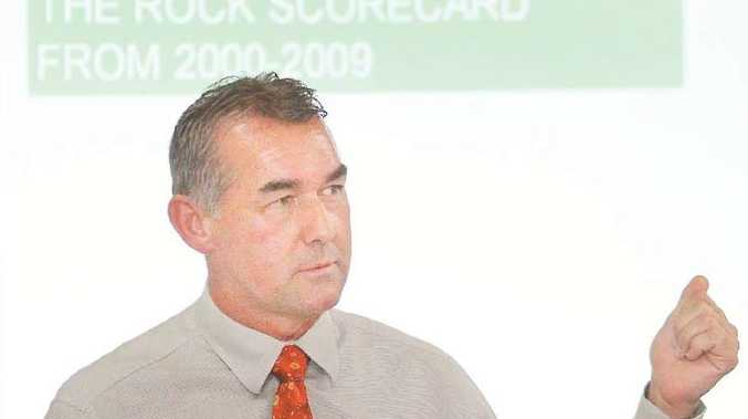 QTI director Kerry Daly speaks to The Rock shareholders at a meeting in Rockhampton yesterday.