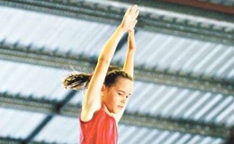 Victoria Park trampolinist Larissa Hackney flying high.