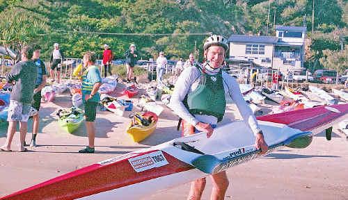 Winning team member, kayaker Tony Curtis.