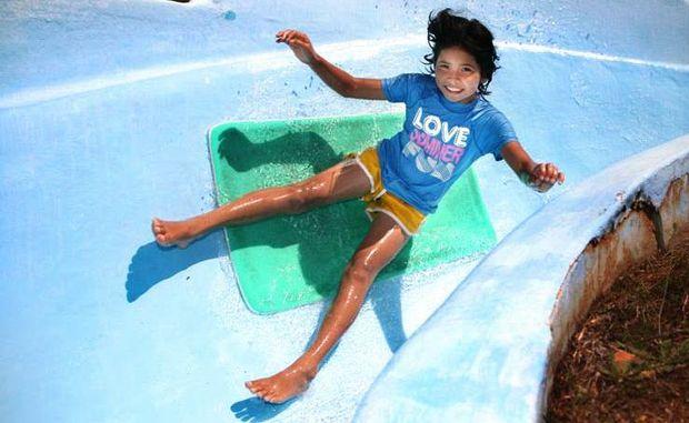 Nina Yaguchi having fun in the sun at Thrill Hill.