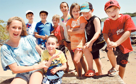 BIRTHDAY boy Kyle Sculley celebrates turning 9 with good mates Bianca Wood and at the back Ethan Kane, Nic Bielefeld, Noah Bielefeld, Claire Rendall, Lana Myres, Dean Rendall and Damian Rodgers