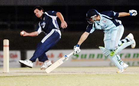 Peter Forrest (batsman) seen here playing against Victoria's John Hastings in the Festival of Cricket finale.
