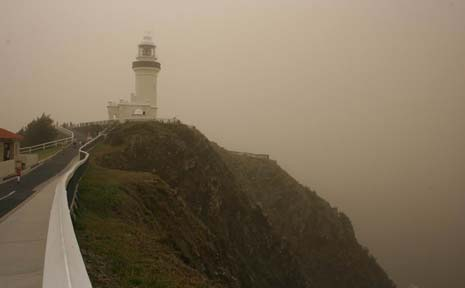 The Cape Byron Lighthouse stands as a beacon during last week's dust storm. The photo was taken by Jann Burmester at 11.30am.