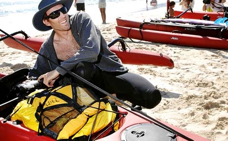 WILL Conner, of Byron Bay, and four mates are paddling in their single-seat Hobie trimaran sea-kayaks from Byron Bay to Bondi Beach, following the humpback whale migration south.