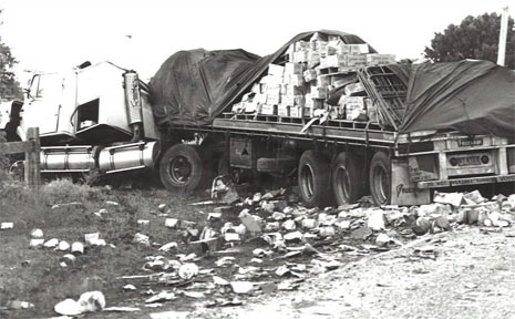 LOOKING BACK: The truck involved in the 1989 Cowper bus crash in which 20 people died.