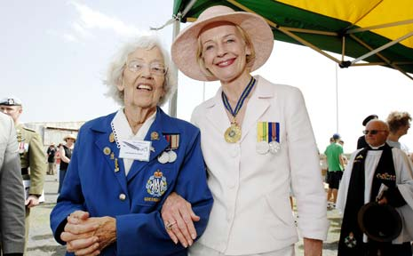 Jean Haughton-James, patron of the Memorial Aerodrome Committe and Evans Head Living Museum, and Governor-General Quentin Bryce during the RAAF reunion at the Evans Head aerodrome.