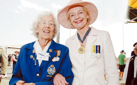 EVANS head Aerodrome Committee patron Jean Haughton-James (left) joins Governor General Quentin Bryce during Saturday's RAAF reunion.