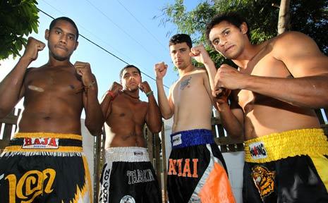 FIGHT CLUB: Hellrazor Fight Club's (from left) Zac Drochmann, Jaras Vea Vea, Wes Mainhardt and Kerred Lawton will hit the ring at the Stadium Nightclub tomorrow.