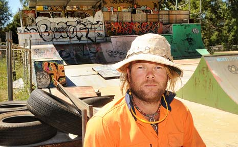 LATERAL THINKER: Nimbin plumber Elan Christian, pictured here at the Nimbin skate park, believes he has a unique solution for the skate park noise problem.