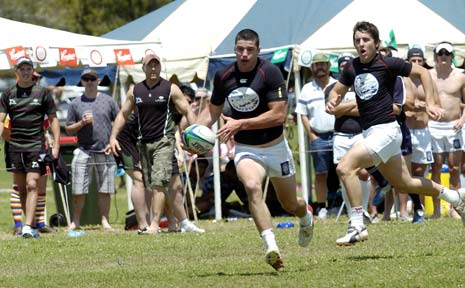 STAR QUALITY: Action from the Byron Bay Rugby Sevens last year.
