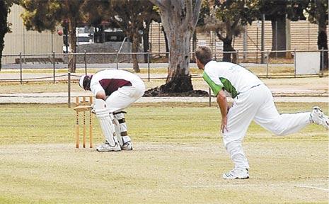 A south Burnett batsman ducks under a Shane Muller thunderbolt during the round one Goodchild Shield clash in Kingaroy.