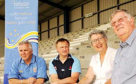 BRAINS TRUST: Pictured at Crozier Field in Lismore yesterday discussing the Super 14 trial are (from left) NSW Country Rugby director Terry Woodward, NSW Waratahs manager Chris Webb, Lismore Mayor Jenny Dowell and trial co-ordinator Howard Atkinson.