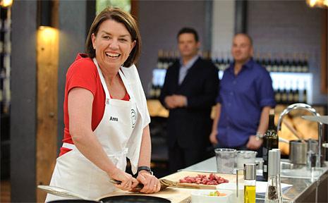 Queensland premier Anna Bligh on the set of MasterChef.