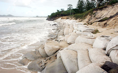 Erosion at Byron Bay ... Byron Council last week voted to put its controversial draft Coastal Zone Management Plan on public exhibition.