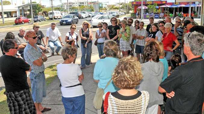 The Cotton Tree market stallholders meeting in October to address the controversy.