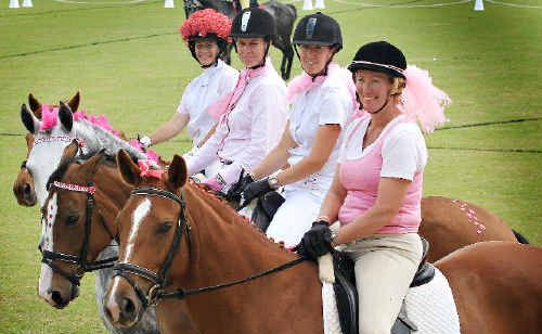 CHERIE Cole on Madam Butterfly, Keighley Leeson on Spencer, Sukala Page on Beltana Grace and Susie Vankampan on Aaneeka, participated in a fundraiser for breast cancer research atMurwillumbah Showground.