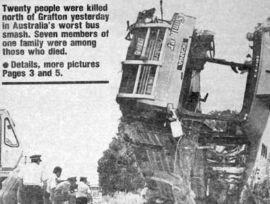 The front page of The Northern Star 20 years ago tomorrow shows the sheer horror of the Cowper bus crash, which killed 21 people and injured 22 other passengers.